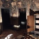 En brand orsakad av en fläkt i ett badrum.